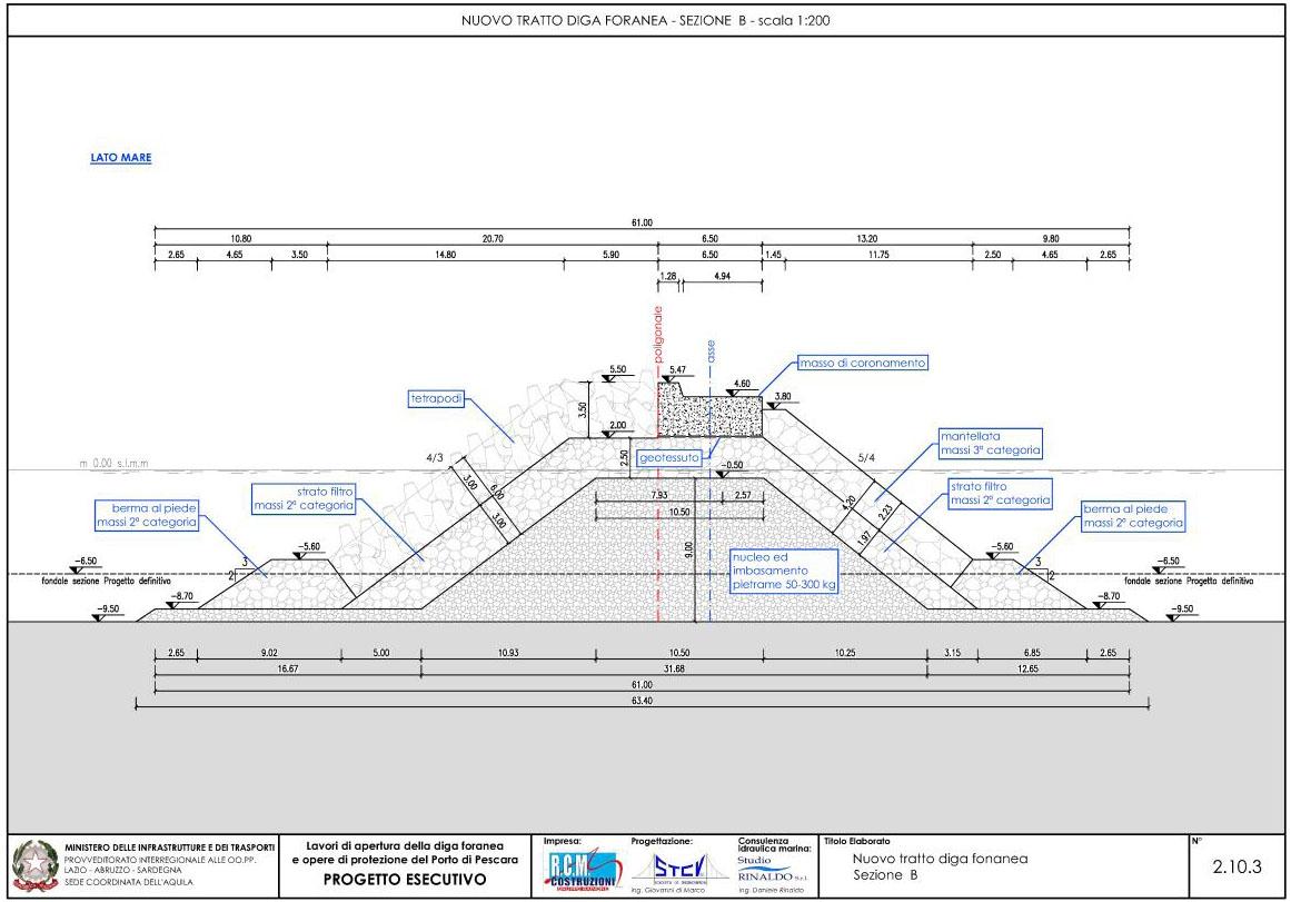Nuovo tratto della diga foranea – sezione B