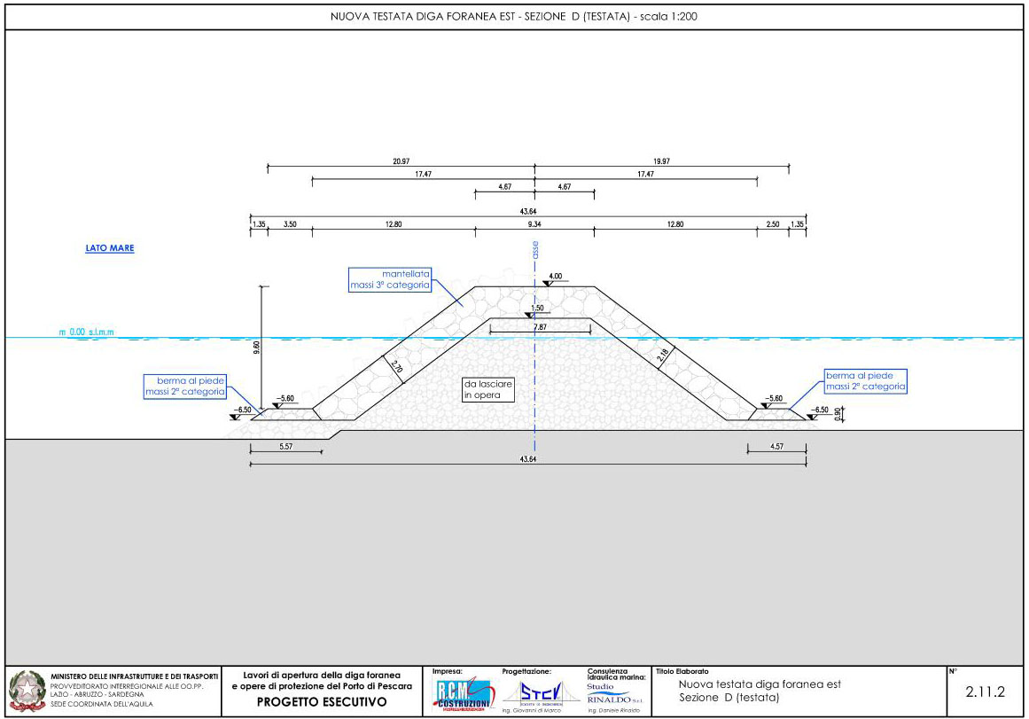 Nuova testata diga foranea est – sezione D