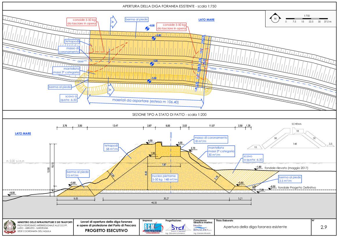 Planimetria e sezione tipo diga foranea da asportare